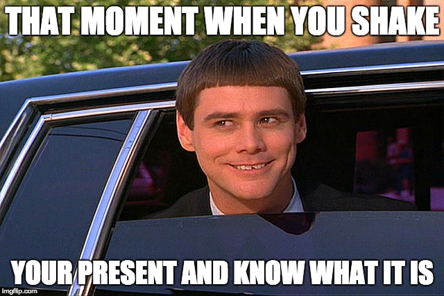 Lloyd Christmas Limo | THAT MOMENT WHEN YOU SHAKE YOUR PRESENT AND KNOW WHAT IT IS | image tagged in lloyd christmas limo | made w/ Imgflip meme maker