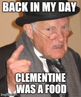 Back In My Day Meme | BACK IN MY DAY CLEMENTINE WAS A FOOD | image tagged in memes,back in my day | made w/ Imgflip meme maker