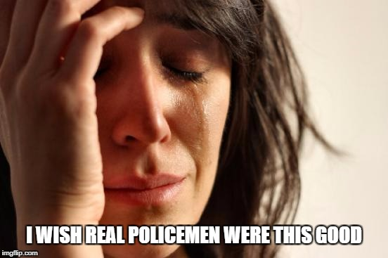 First World Problems Meme | I WISH REAL POLICEMEN WERE THIS GOOD | image tagged in memes,first world problems | made w/ Imgflip meme maker