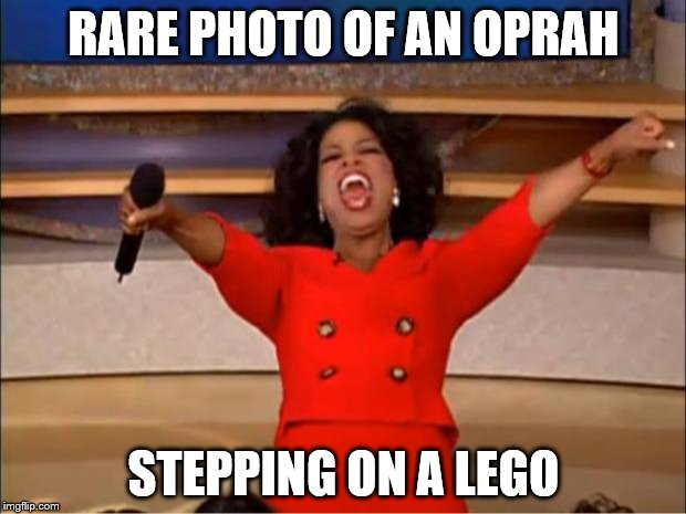 Oprah You Get A Meme | RARE PHOTO OF AN OPRAH STEPPING ON A LEGO | image tagged in memes,oprah you get a | made w/ Imgflip meme maker