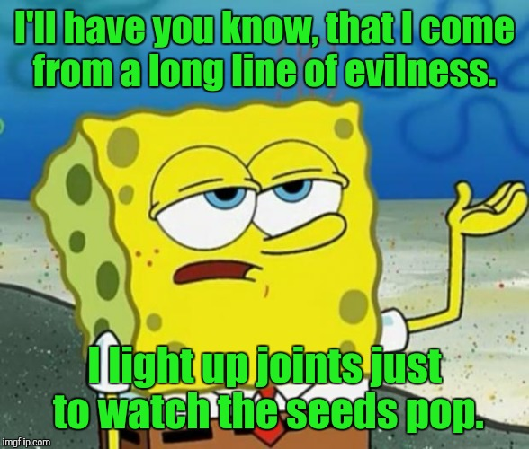 I'll have you know, that I come from a long line of evilness. I light up joints just to watch the seeds pop. | made w/ Imgflip meme maker