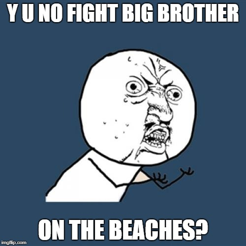Y U No Meme | Y U NO FIGHT BIG BROTHER ON THE BEACHES? | image tagged in memes,y u no | made w/ Imgflip meme maker