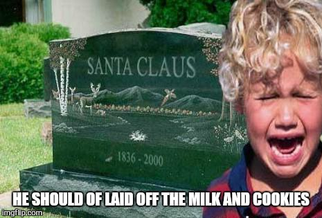 Merry Christmas  | HE SHOULD OF LAID OFF THE MILK AND COOKIES | image tagged in memes,christmas memes,happy holidays,funny,santa | made w/ Imgflip meme maker