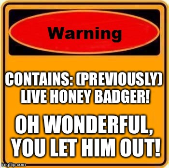 Warning Sign Meme | CONTAINS: (PREVIOUSLY) LIVE HONEY BADGER! OH WONDERFUL, YOU LET HIM OUT! | image tagged in memes,warning sign | made w/ Imgflip meme maker