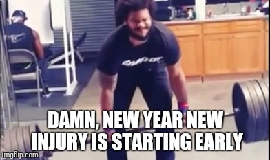Poor Barbell  | DAMN, NEW YEAR NEW INJURY IS STARTING EARLY | image tagged in gym,fail,comedy | made w/ Imgflip meme maker