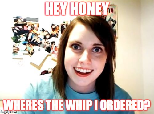 Overly Attached Girlfriend Meme | HEY HONEY WHERES THE WHIP I ORDERED? | image tagged in memes,overly attached girlfriend | made w/ Imgflip meme maker