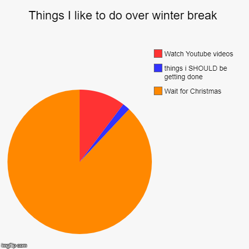 Things I like to do over winter break | Wait for Christmas, things i SHOULD be getting done, Watch Youtube videos | image tagged in funny,pie charts | made w/ Imgflip chart maker