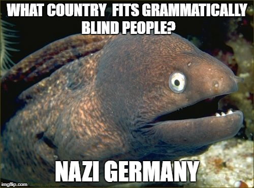 Bad Joke Eel Meme | WHAT COUNTRY  FITS GRAMMATICALLY BLIND PEOPLE? NAZI GERMANY | image tagged in memes,bad joke eel | made w/ Imgflip meme maker