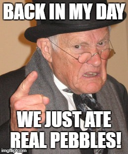 Back In My Day Meme | BACK IN MY DAY WE JUST ATE REAL PEBBLES! | image tagged in memes,back in my day | made w/ Imgflip meme maker