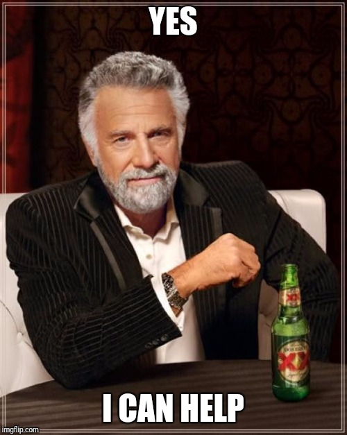 The Most Interesting Man In The World Meme | YES I CAN HELP | image tagged in memes,the most interesting man in the world | made w/ Imgflip meme maker