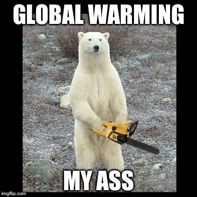 Chainsaw Bear Meme | GLOBAL WARMING MY ASS | image tagged in memes,chainsaw bear | made w/ Imgflip meme maker