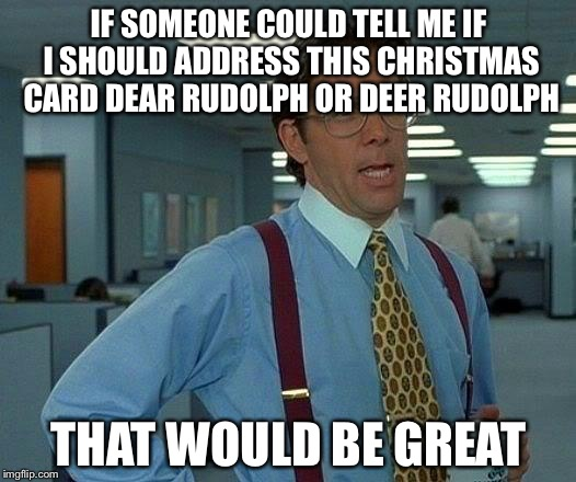 That Would Be Great Meme | IF SOMEONE COULD TELL ME IF I SHOULD ADDRESS THIS CHRISTMAS CARD DEAR RUDOLPH OR DEER RUDOLPH THAT WOULD BE GREAT | image tagged in memes,that would be great | made w/ Imgflip meme maker