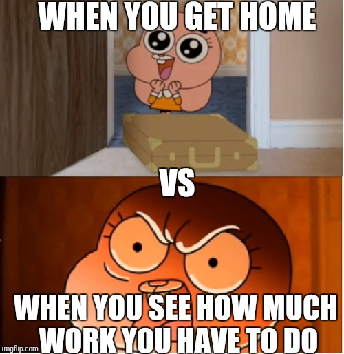 Gumball - Anais False Hope Meme | WHEN YOU GET HOME WHEN YOU SEE HOW MUCH WORK YOU HAVE TO DO VS | image tagged in gumball - anais false hope meme,homework,school,angry | made w/ Imgflip meme maker