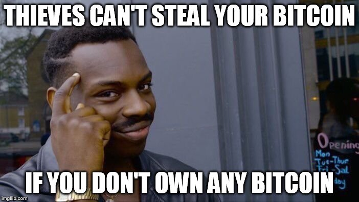 Roll Safe Think About It Meme | THIEVES CAN'T STEAL YOUR BITCOIN IF YOU DON'T OWN ANY BITCOIN | image tagged in roll safe think about it | made w/ Imgflip meme maker