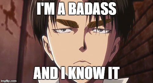 Levi | I'M A BADASS AND I KNOW IT | image tagged in levi | made w/ Imgflip meme maker