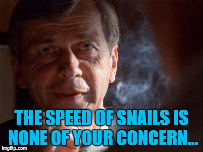 THE SPEED OF SNAILS IS NONE OF YOUR CONCERN... | made w/ Imgflip meme maker