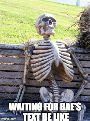 Waiting Skeleton Meme | WAITING FOR BAE'S TEXT BE LIKE | image tagged in memes,waiting skeleton | made w/ Imgflip meme maker