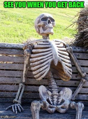 Waiting Skeleton Meme | SEE YOU WHEN YOU GET BACK | image tagged in memes,waiting skeleton | made w/ Imgflip meme maker