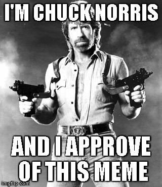 I'm Chuck Norris | I'M CHUCK NORRIS AND I APPROVE OF THIS MEME | image tagged in i'm chuck norris | made w/ Imgflip meme maker