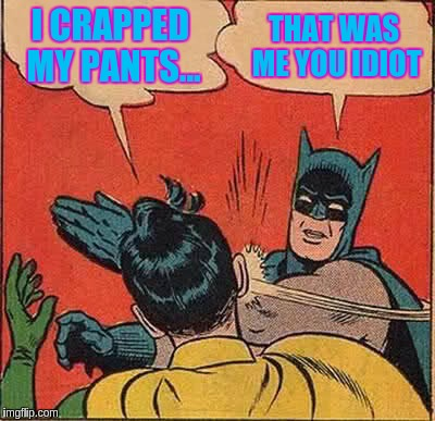 Batman Slapping Robin Meme | I CRAPPED MY PANTS... THAT WAS ME YOU IDIOT | image tagged in memes,batman slapping robin | made w/ Imgflip meme maker