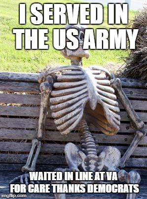8 YEARS OF BULLSHIT LIBERAL AGENDA | I SERVED IN THE US ARMY WAITED IN LINE AT VA FOR CARE THANKS DEMOCRATS | image tagged in memes,waiting skeleton,veterans | made w/ Imgflip meme maker