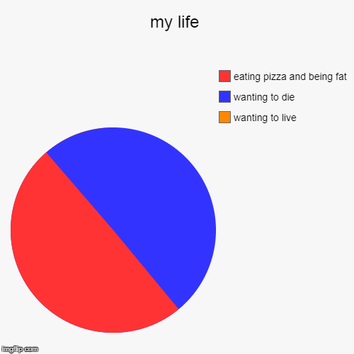 my life | wanting to live, wanting to die, eating pizza and being fat | image tagged in funny,pie charts | made w/ Imgflip pie chart maker