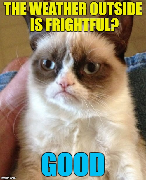 Grumpy's not a fan of Dean Martin... :) | THE WEATHER OUTSIDE IS FRIGHTFUL? GOOD | image tagged in memes,grumpy cat,christmas,weather,christmas songs,dean martin | made w/ Imgflip meme maker