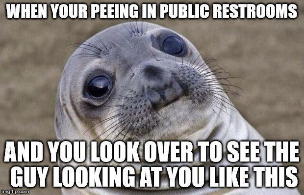 Awkward Moment Sealion Meme | WHEN YOUR PEEING IN PUBLIC RESTROOMS AND YOU LOOK OVER TO SEE THE GUY LOOKING AT YOU LIKE THIS | image tagged in memes,awkward moment sealion | made w/ Imgflip meme maker