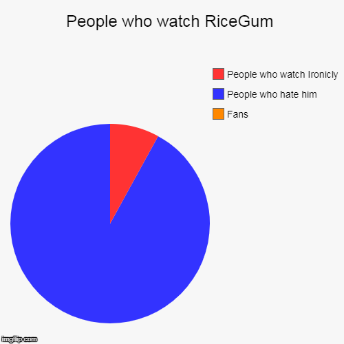 People who watch RiceGum | Fans, People who hate him , People who watch Ironicly | image tagged in funny,pie charts | made w/ Imgflip pie chart maker