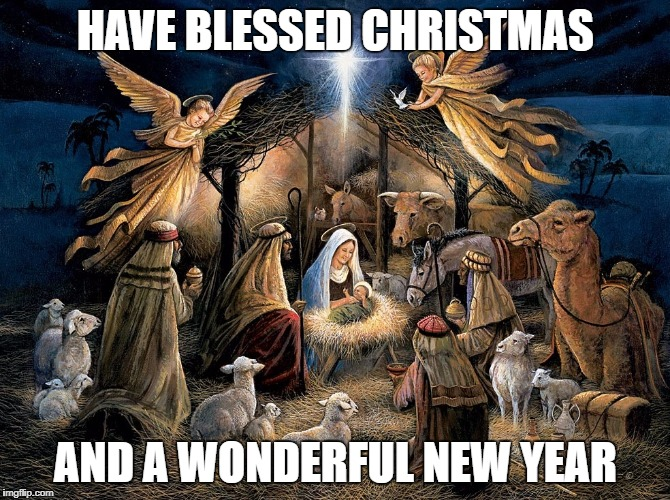 Christmas 2018 | HAVE BLESSED CHRISTMAS AND A WONDERFUL NEW YEAR | image tagged in nativity scene | made w/ Imgflip meme maker