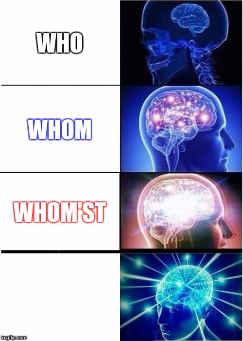 Expanding Brain Meme | WHO WHOM WHOM'ST | image tagged in memes,expanding brain | made w/ Imgflip meme maker