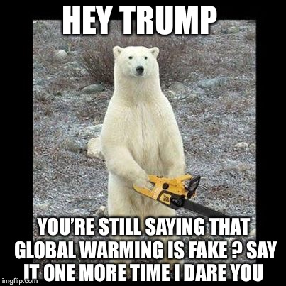 Chainsaw Bear Meme | HEY TRUMP YOU'RE STILL SAYING THAT GLOBAL WARMING IS FAKE ? SAY IT ONE MORE TIME I DARE YOU | image tagged in memes,chainsaw bear | made w/ Imgflip meme maker