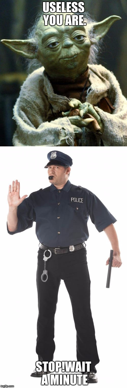 stop cop vs yoda | USELESS YOU ARE. STOP!WAIT A MINUTE | image tagged in sjw | made w/ Imgflip meme maker