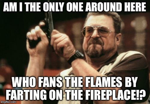 Farting on the fireplace | AM I THE ONLY ONE AROUND HERE WHO FANS THE FLAMES BY FARTING ON THE FIREPLACE!? | image tagged in memes,am i the only one around here,farting,fireplace,flamethrower,fans | made w/ Imgflip meme maker