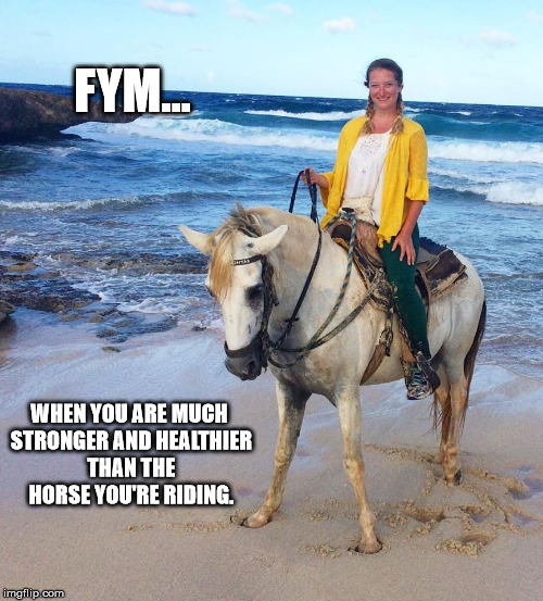 Poor Guy | WHEN YOU ARE MUCH STRONGER AND HEALTHIER THAN THE HORSE YOU'RE RIDING. FYM... | image tagged in memes,bad luck brian,first world problems,douchebag,trending | made w/ Imgflip meme maker