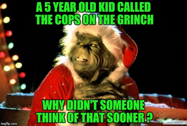 Out of the mouths of babes | A 5 YEAR OLD KID CALLED THE COPS ON THE GRINCH WHY DIDN'T SOMEONE THINK OF THAT SOONER ? | image tagged in the grinch,stealing,christmas,police,who you gonna call | made w/ Imgflip meme maker