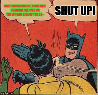 Batman Slapping Robin Meme | HOLY MUMMERMOUTH BATMAN SOMEONE SLEPPED ON THE WRONG SIDE OF THE BE-- SHUT UP! | image tagged in memes,batman slapping robin | made w/ Imgflip meme maker