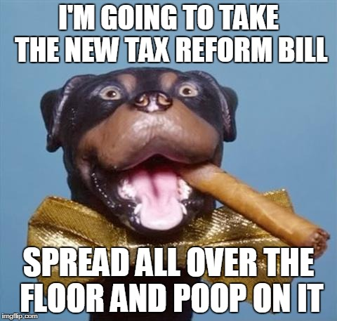 Triumph the Insult Comic Dog | I'M GOING TO TAKE THE NEW TAX REFORM BILL SPREAD ALL OVER THE FLOOR AND POOP ON IT | image tagged in triumph the insult comic dog,tax reform | made w/ Imgflip meme maker