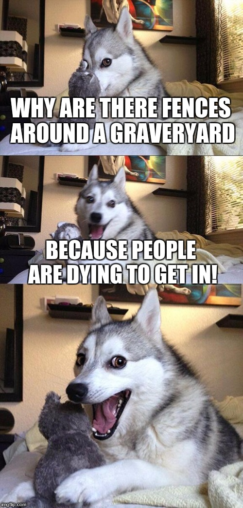 Bad Pun Dog Meme | WHY ARE THERE FENCES AROUND A GRAVERYARD BECAUSE PEOPLE ARE DYING TO GET IN! | image tagged in memes,bad pun dog | made w/ Imgflip meme maker