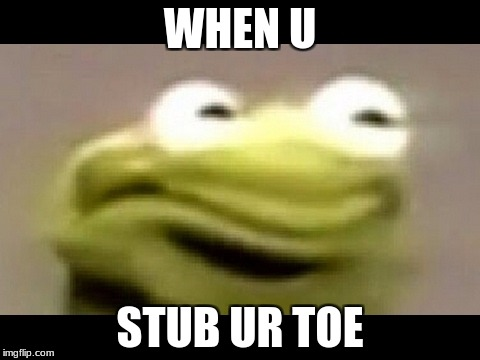 kermit | WHEN U STUB UR TOE | image tagged in kermit the frog | made w/ Imgflip meme maker