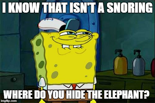 Dont You Squidward Meme | I KNOW THAT ISN'T A SNORING WHERE DO YOU HIDE THE ELEPHANT? | image tagged in memes,dont you squidward | made w/ Imgflip meme maker