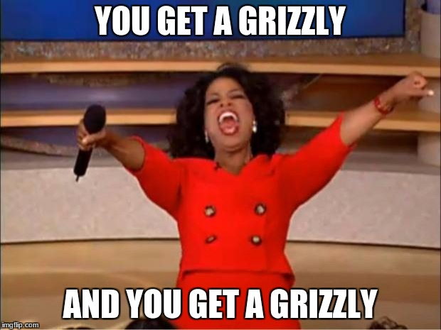 how i pay people on creative rp servers | YOU GET A GRIZZLY AND YOU GET A GRIZZLY | image tagged in memes,oprah you get a,unturned | made w/ Imgflip meme maker
