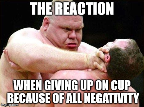 THE REACTION WHEN GIVING UP ON CUP BECAUSE OF ALL NEGATIVITY | image tagged in i fucking hate my life | made w/ Imgflip meme maker