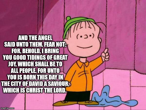 Linus Christmas | AND THE ANGEL SAID UNTO THEM, FEAR NOT: FOR, BEHOLD, I BRING YOU GOOD TIDINGS OF GREAT JOY, WHICH SHALL BE TO ALL PEOPLE. FOR UNTO YOU IS BO | image tagged in linus christmas | made w/ Imgflip meme maker