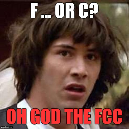 Conspiracy Keanu Meme | F ... OR C? OH GOD THE FCC | image tagged in memes,conspiracy keanu | made w/ Imgflip meme maker