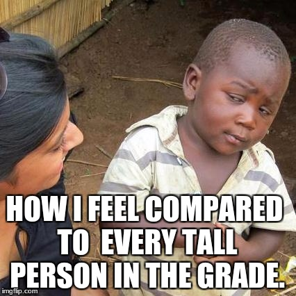 Third World Skeptical Kid Meme | HOW I FEEL COMPARED TO  EVERY TALL PERSON IN THE GRADE. | image tagged in memes,third world skeptical kid | made w/ Imgflip meme maker