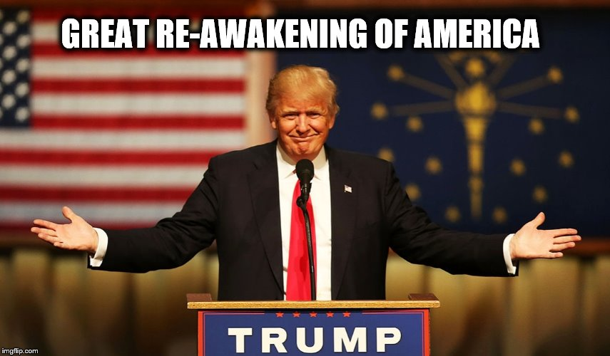 Great Re-Awakening of America | GREAT RE-AWAKENING OF AMERICA | image tagged in trump,re-awakening,q,cbts,the storm,hrc | made w/ Imgflip meme maker