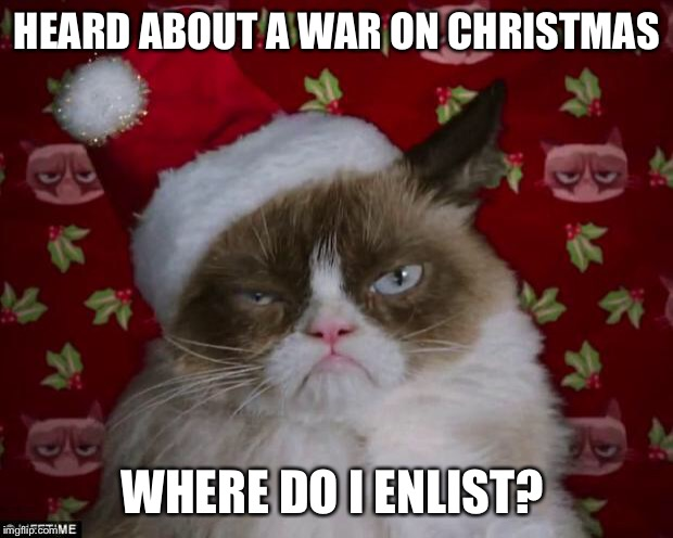 Hey, you over there on your 'smart' phone  | HEARD ABOUT A WAR ON CHRISTMAS WHERE DO I ENLIST? | image tagged in grumpy cat christmas,war on christmas,join me,funny memes | made w/ Imgflip meme maker