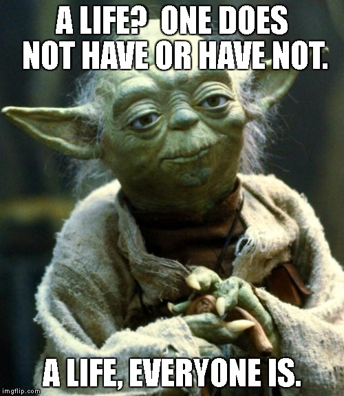 Words of wisdom week | A LIFE?  ONE DOES NOT HAVE OR HAVE NOT. A LIFE, EVERYONE IS. | image tagged in memes,star wars yoda,words of wisdom week | made w/ Imgflip meme maker