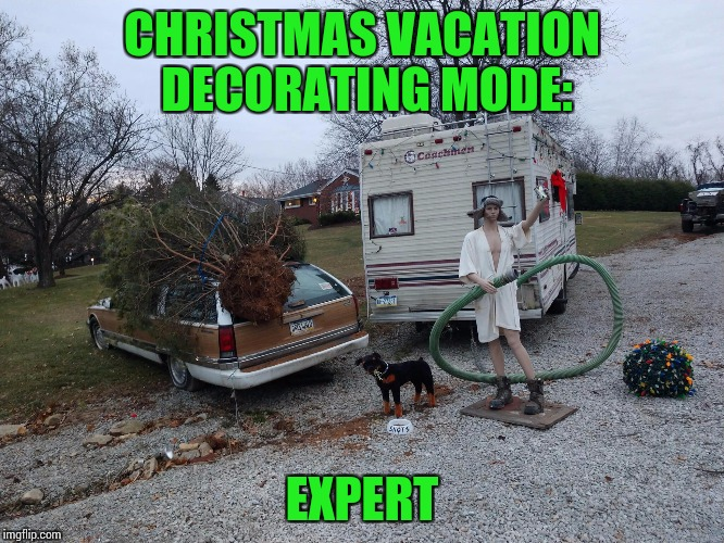 Christmas Vacation is required viewing this time of year | CHRISTMAS VACATION DECORATING MODE: EXPERT | image tagged in christmas,christmas vacation,pipe_picasso | made w/ Imgflip meme maker